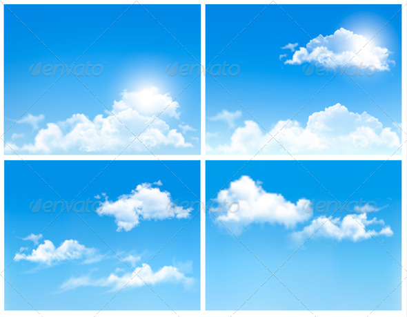Collection of Backgrounds with Blue Sky and Clouds - Nature Conceptual