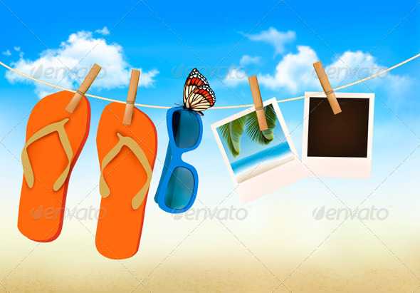 Flip Flops Sunglasses and Photo Cards - Travel Conceptual