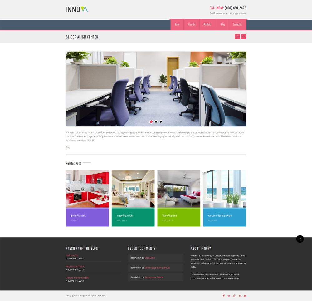 innova interior funiture wordpress cms theme by