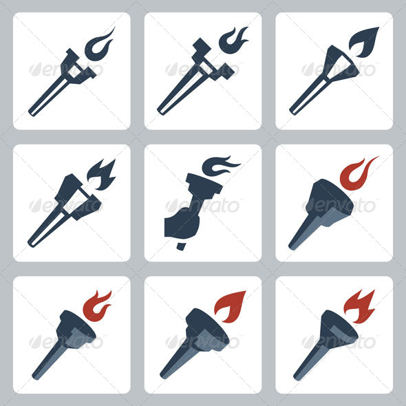 Torches icons - Man-made Objects Objects