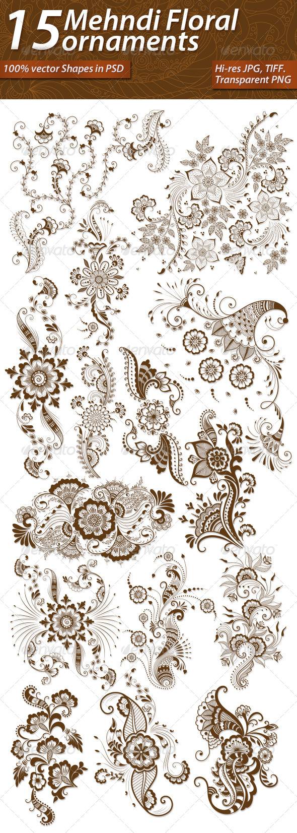 15 Mehndi Floral Ornaments Set#1 - Flourishes / Swirls Decorative
