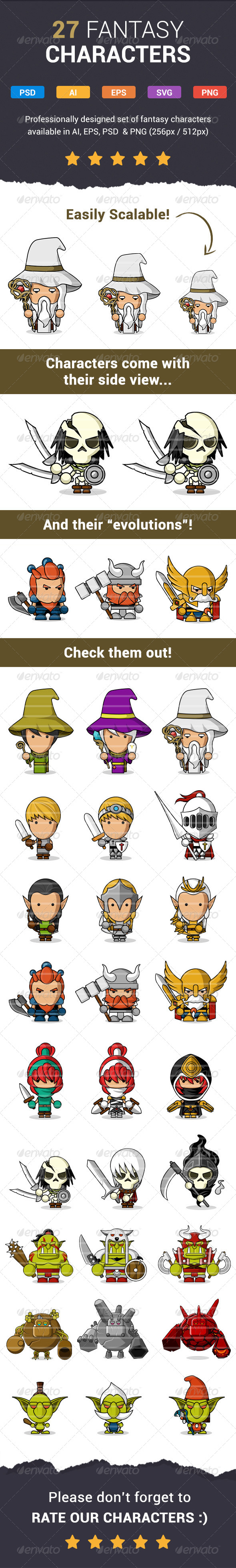 27 Modern Fantasy Characters - Characters Vectors