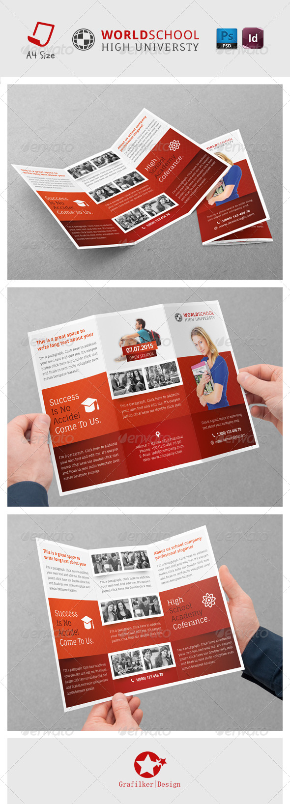 High School Tri-fold Templates - Brochures Print Templates