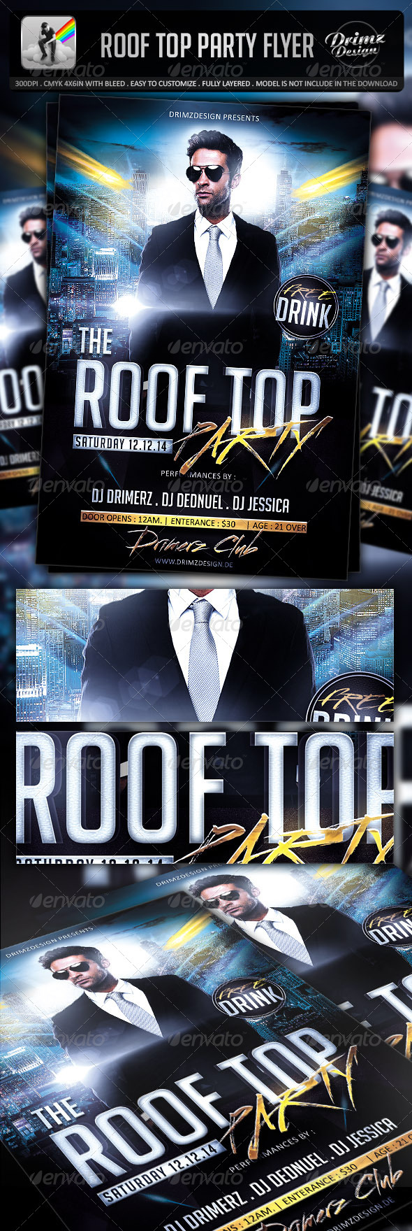 Roof Top Party Flyer - Clubs & Parties Events