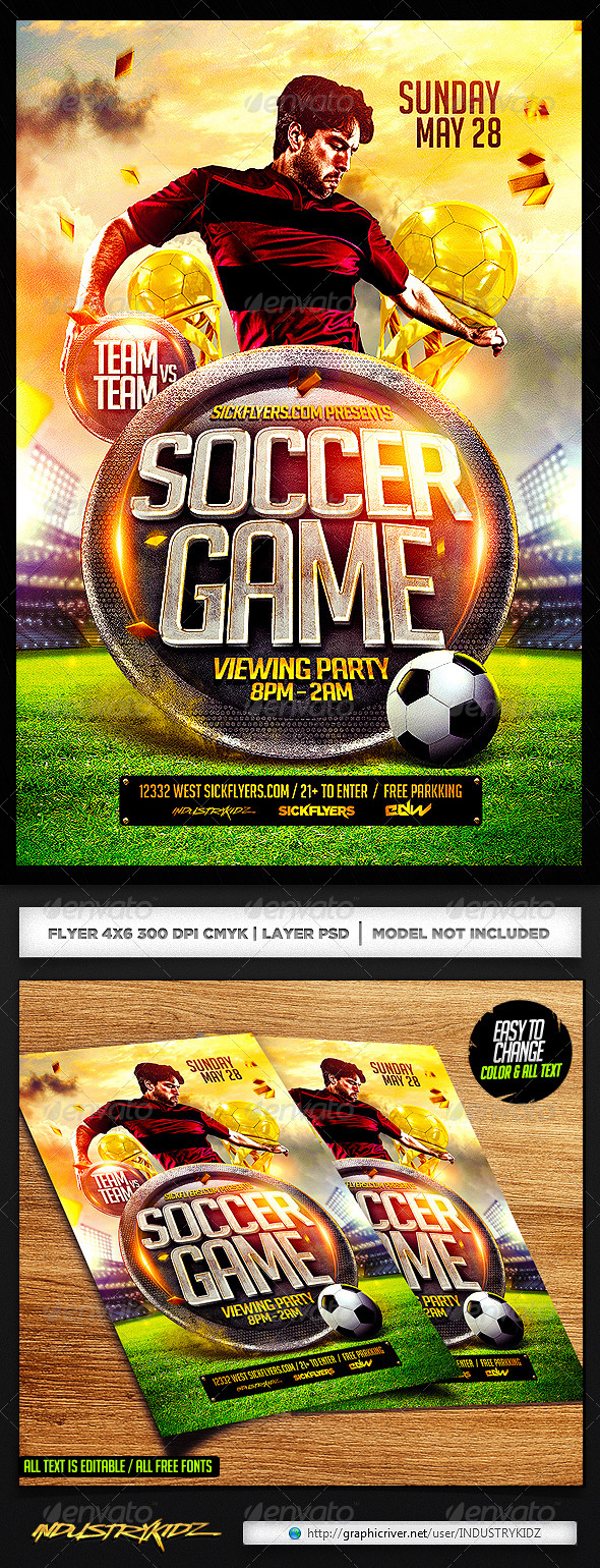Soccer Flyer Template PSD   Sports Events