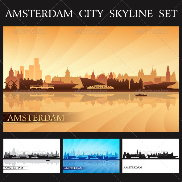 Amsterdam City Skyline Silhouettes Set - Backgrounds Decorative