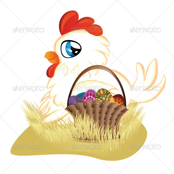 White Hen with Easter Eggs Basket   - Animals Characters