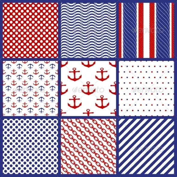 Set of  Geometric Patterns in Marine Style - Patterns Decorative