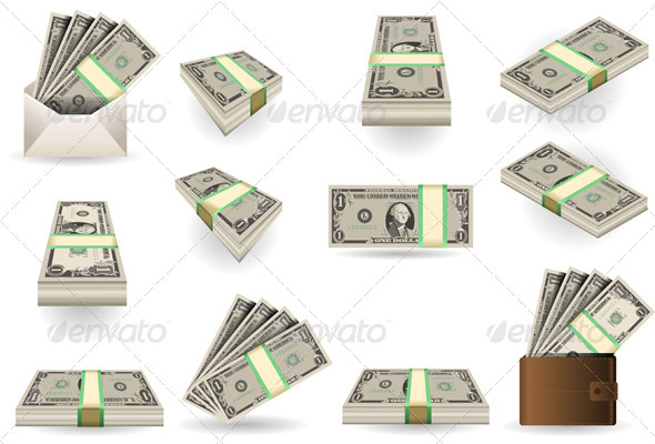 Full Set of One Dollar Banknotes - Business Conceptual