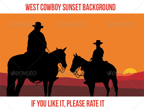 West Cowboy Sunset 2 - Landscapes Nature
