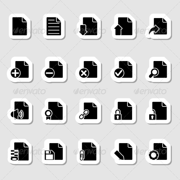 Documents Icons Set as Labels - Objects Icons