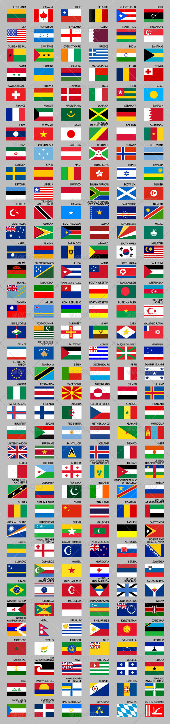 216 Flags of World - Travel Conceptual