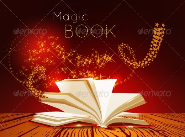 Opened Book with Magic Light - Man-made Objects Objects