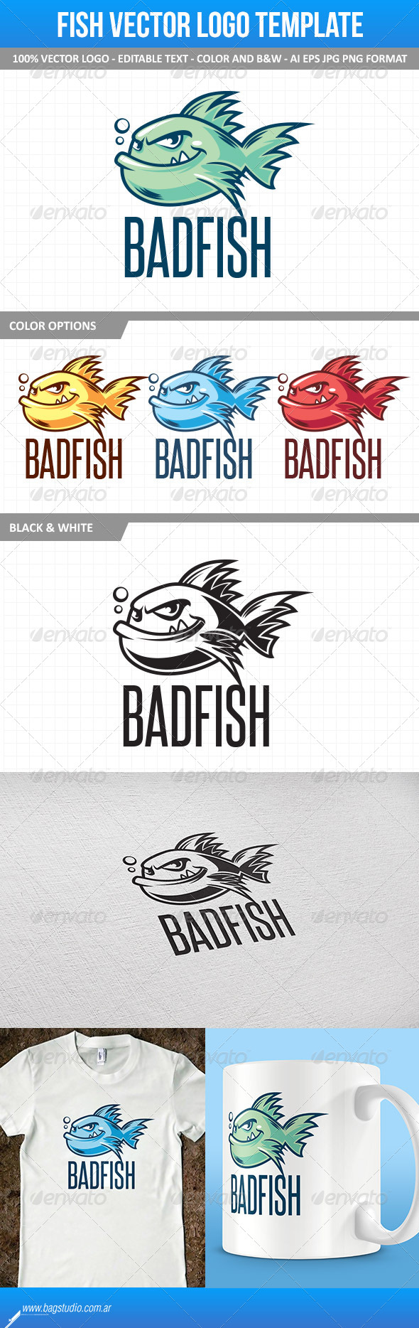 Fish Mascot Vector Logo Template - Animals Logo Templates