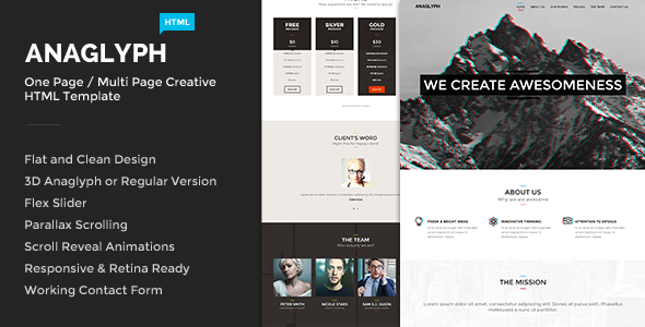 Anaglyph - One Page / Multi Page Creative Template - Creative Site Templates
