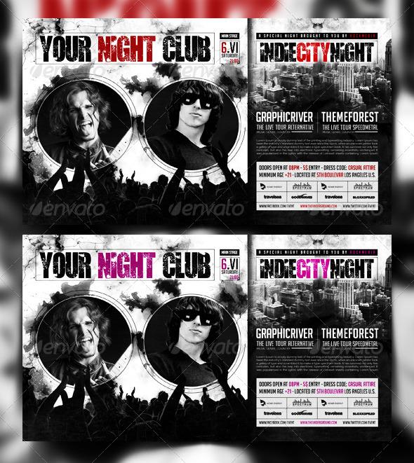 Rock / Vintage / Indie Concert / Party Flyer - Concerts Events