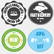 Five Cheerful Easter Badges - GraphicRiver Item for Sale