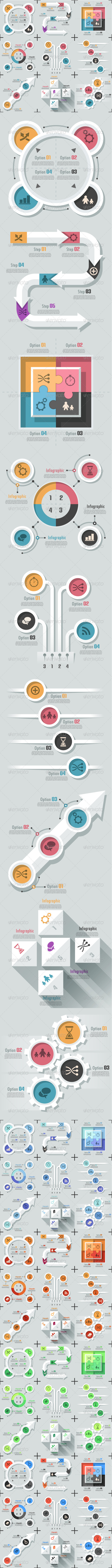 Set Of 9 Flat Infographic Options Templates