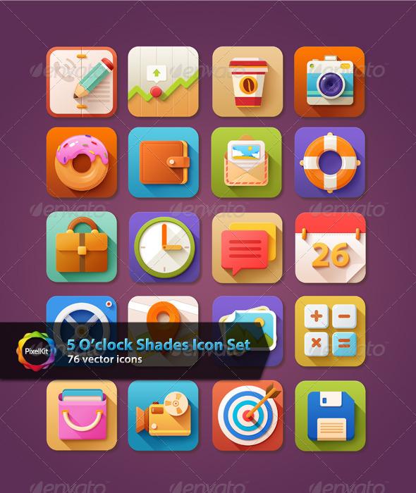 5 O'clock Shades Icon Set - Web Icons