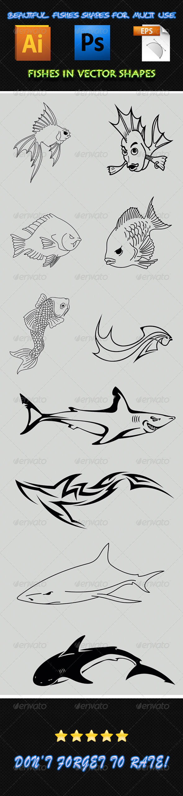 Fish Shapes 02 - Animals Characters