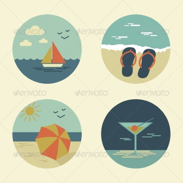 Summer Icons Retro - Travel Conceptual