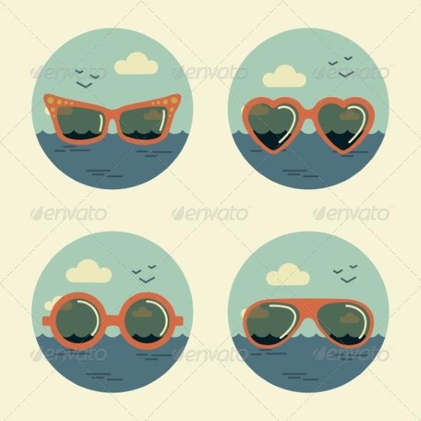Summer Icons Retro - Travel Conceptual