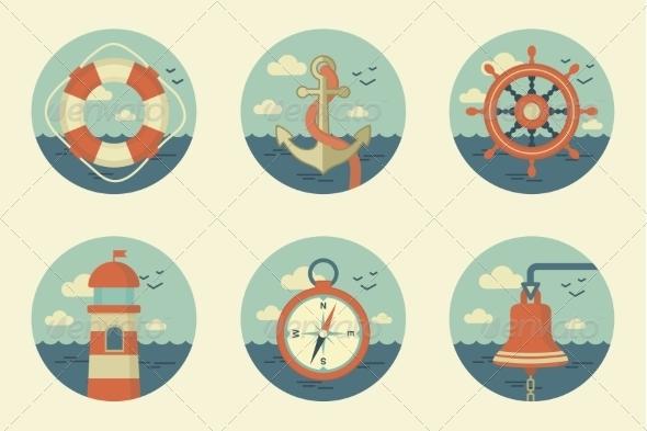 Retro Marine Icons - Travel Conceptual