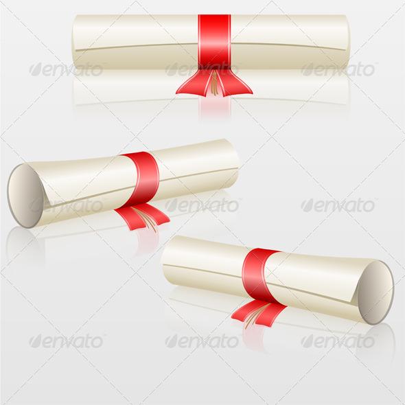 Scrolls with Red Ribbon Set - Decorative Symbols Decorative