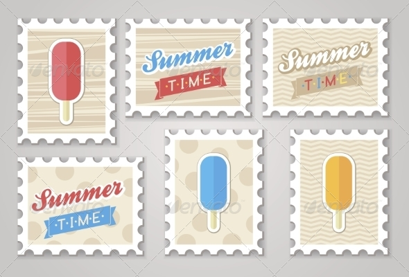 Summer Stamps of Ice Cream - Food Objects