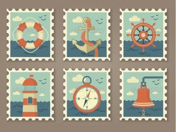 Retro Marine Stamps - Travel Conceptual