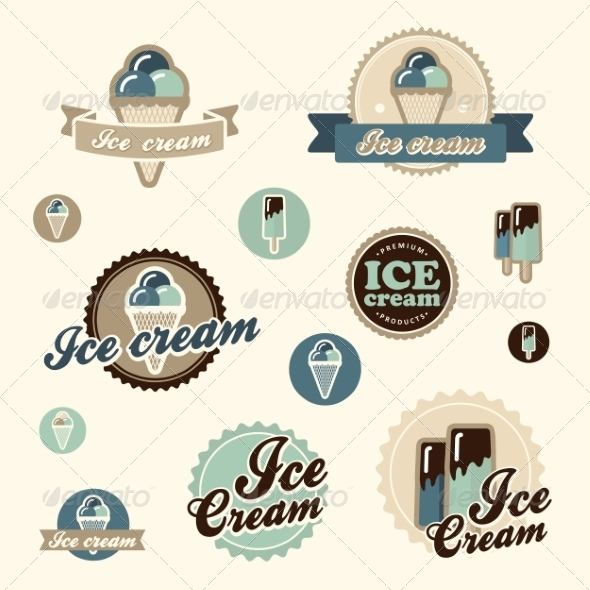 Set of Vintage Ice Cream - Food Objects