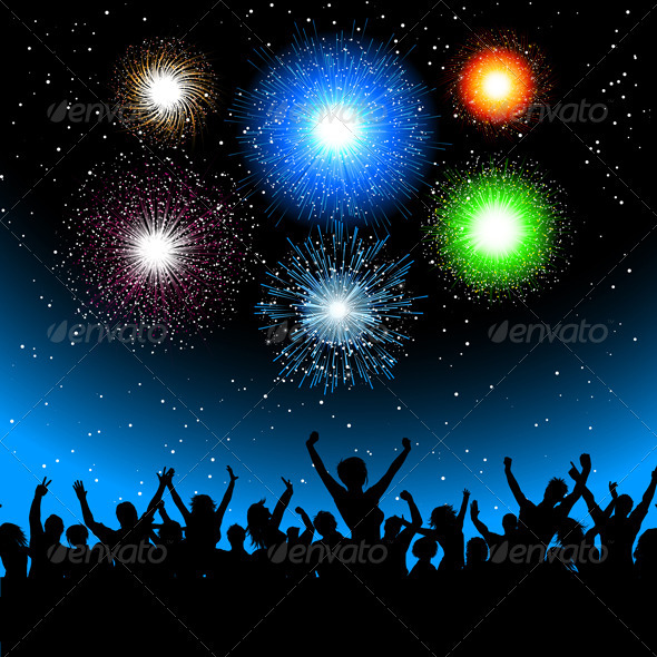 Party crowd with fireworks - Seasons/Holidays Conceptual