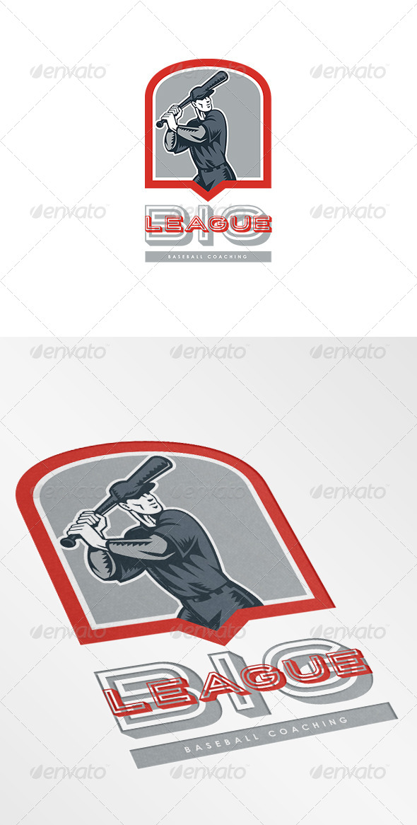 Big League Baseball Coaching Logo - Humans Logo Templates