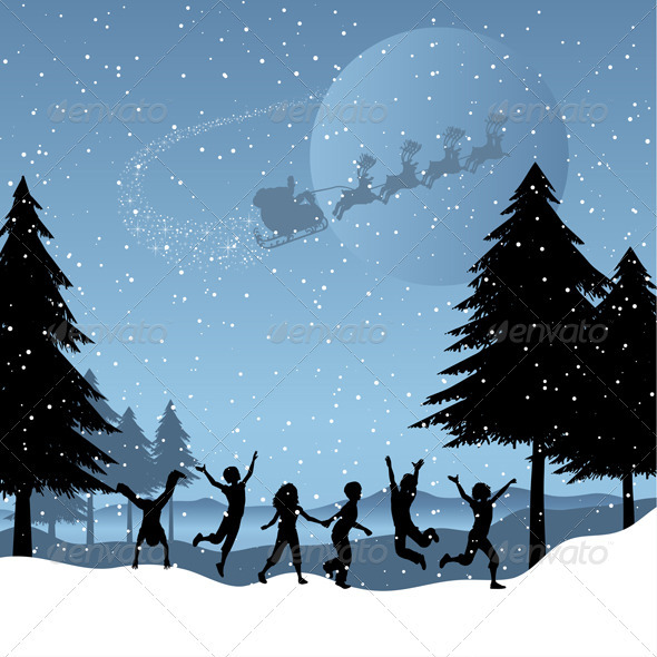 Children playing with santa in the sky - Christmas Seasons/Holidays