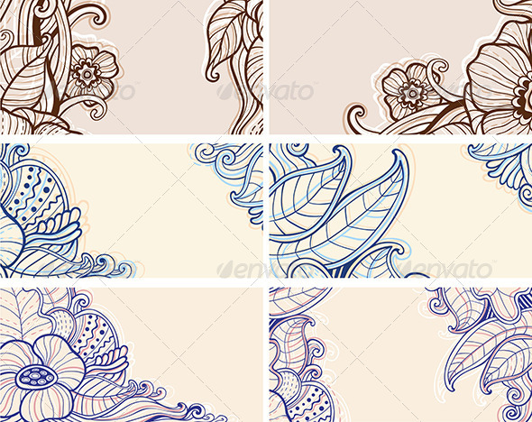 Abstract Hand Drawn Floral  Cards - Flowers & Plants Nature