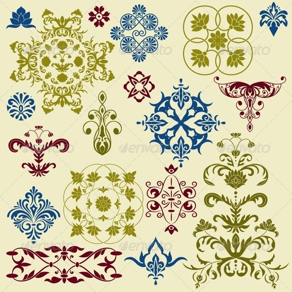 Vintage Floral Bright Design Elements - Decorative Symbols Decorative