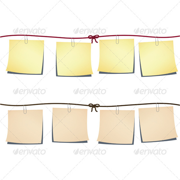 Set of Note-Papers on a Rope - Web Elements Vectors