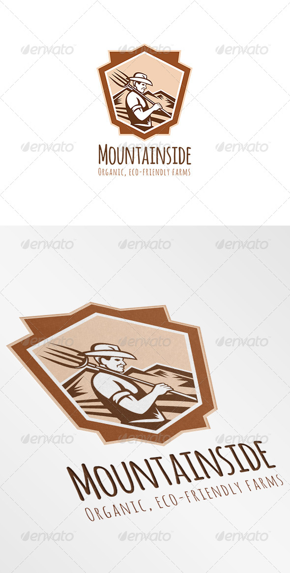 Mountainside Organic Eco-Friendly Farms Logo - Humans Logo Templates