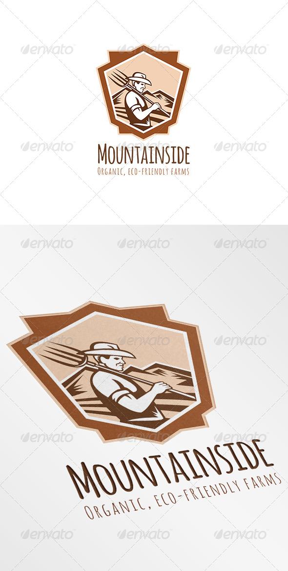 Mountainside Organic Eco-Friendly Farms Logo - Humans Logo Templates