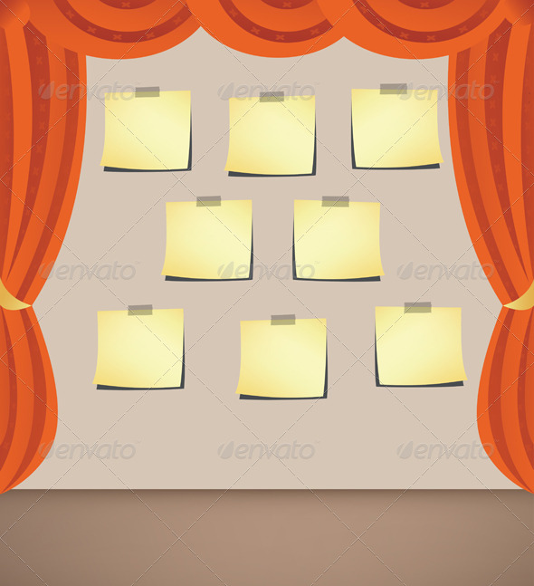 Curtain with Note Papers - Backgrounds Decorative