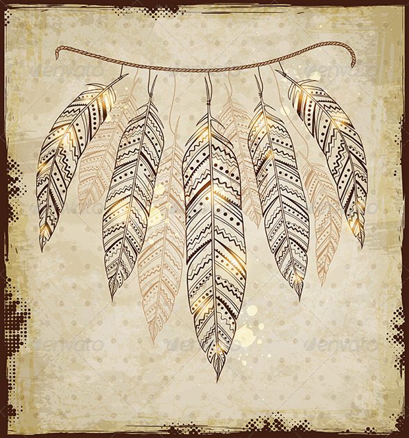 Decorative Background with Feathers - Backgrounds Decorative