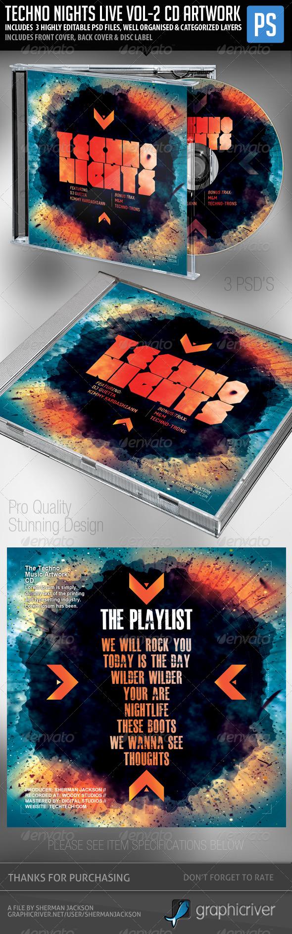 Techno Nights Live Vol.2 CD Album Artwork - CD & DVD Artwork Print Templates