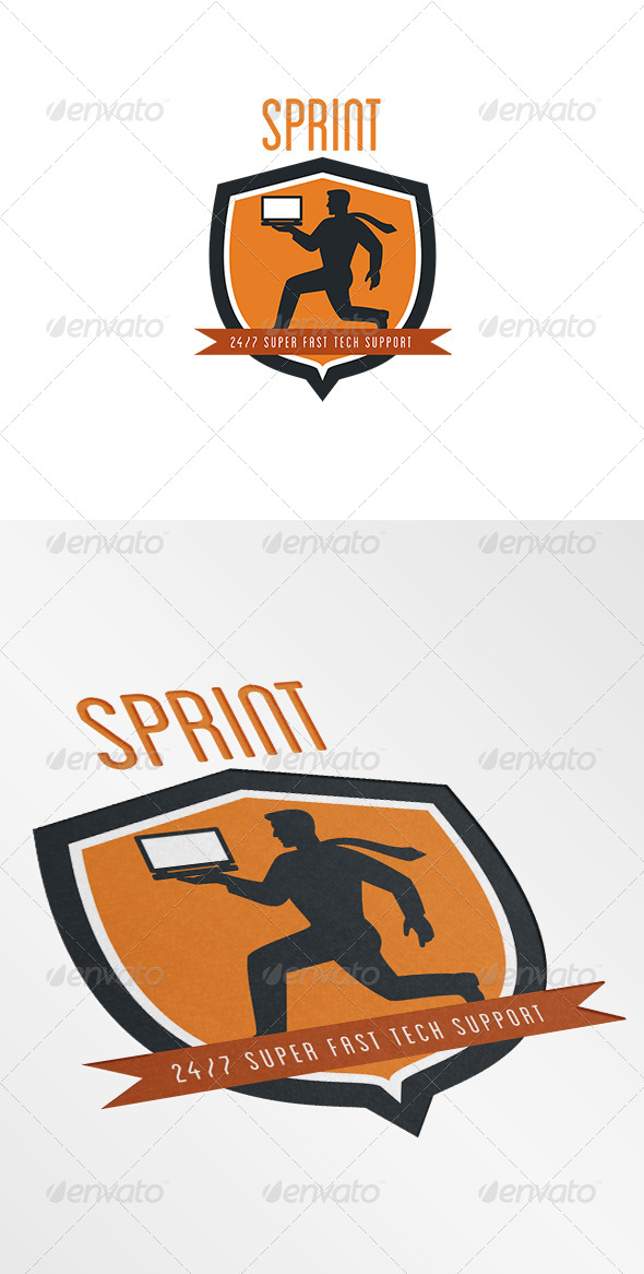 Sprint Super Fast Tech Support Logo - Humans Logo Templates