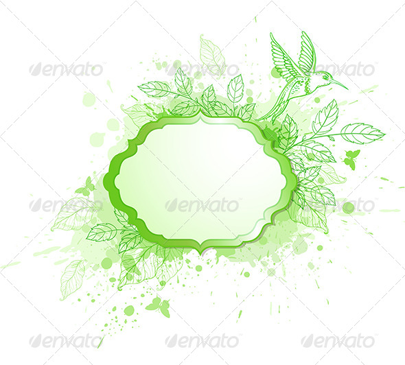 Green Label with Leaves and Bird - Backgrounds Decorative