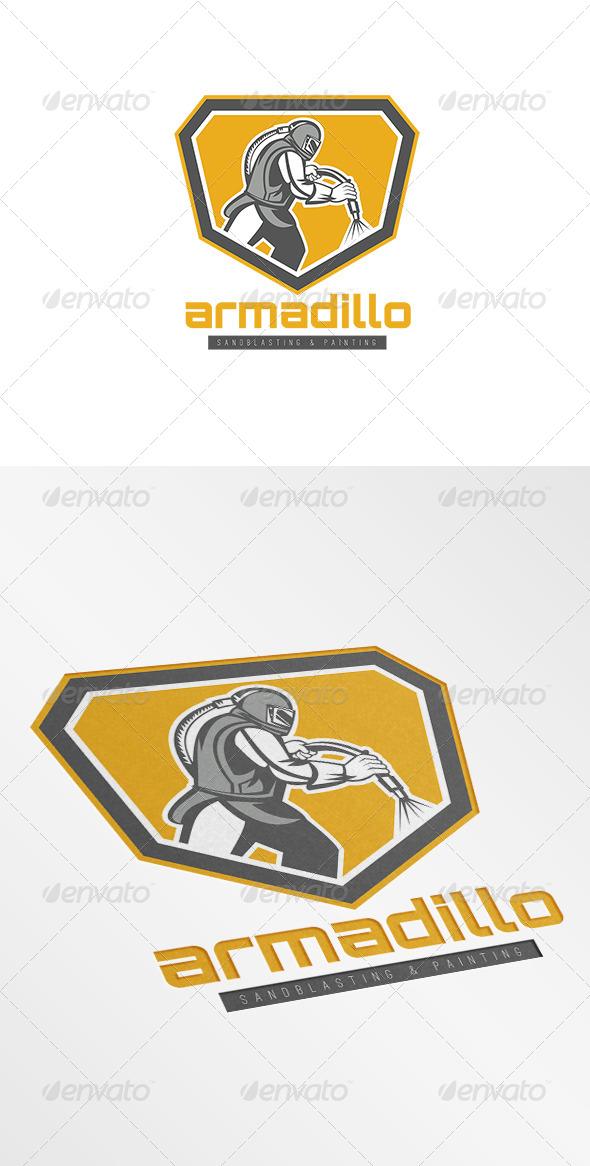 Armadillo Sandblasting Logo - Humans Logo Templates