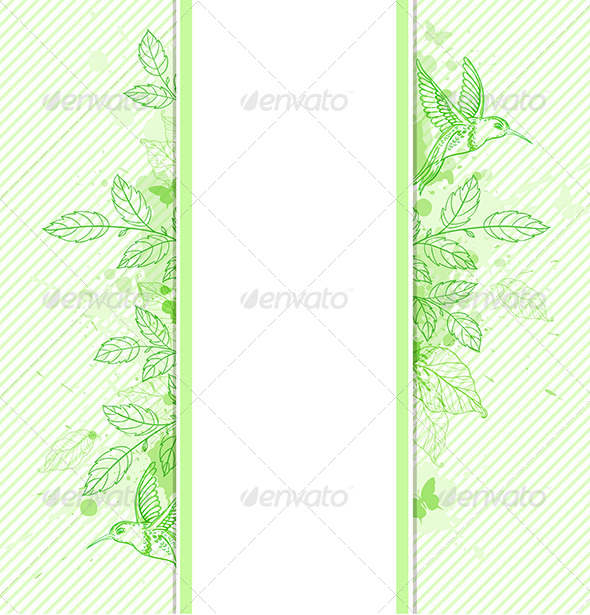 Green Banner with Leaves and Bird - Backgrounds Decorative