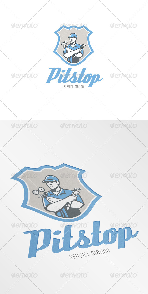 Pitstop Refrigeration Air Conditioning Service Log - Humans Logo Templates