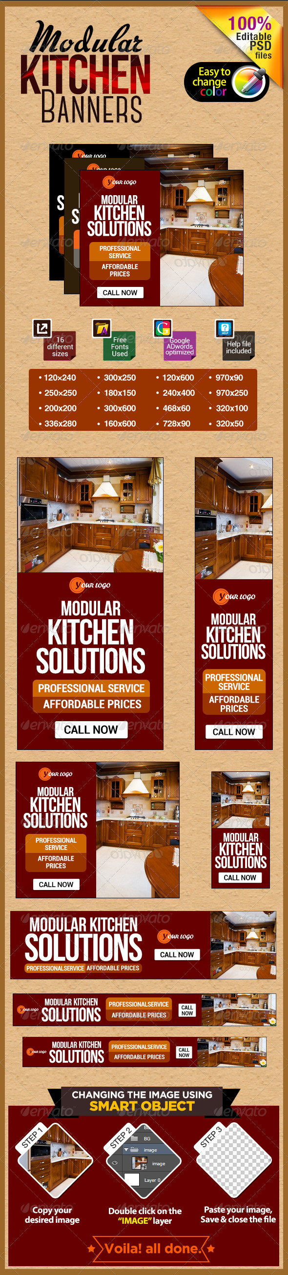 Modern Kitchen Banners - Banners & Ads Web Elements