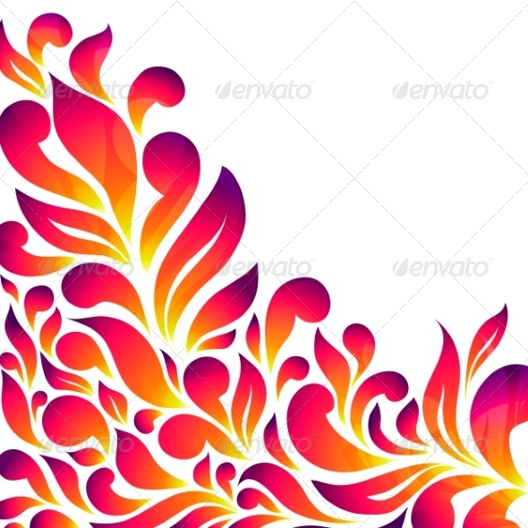 Abstract Floral Background with Drops and Leaves - Flowers & Plants Nature