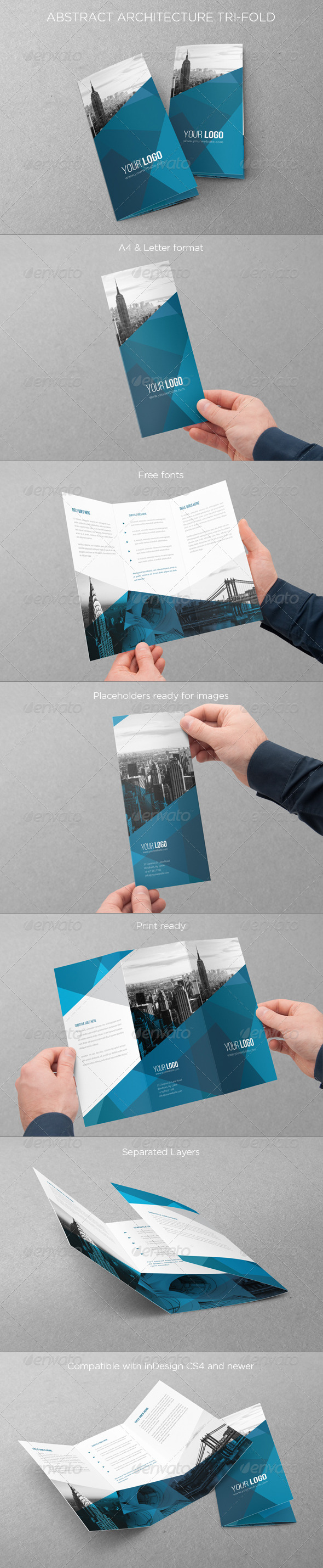 Abstract Architecture Trifold - Brochures Print Templates